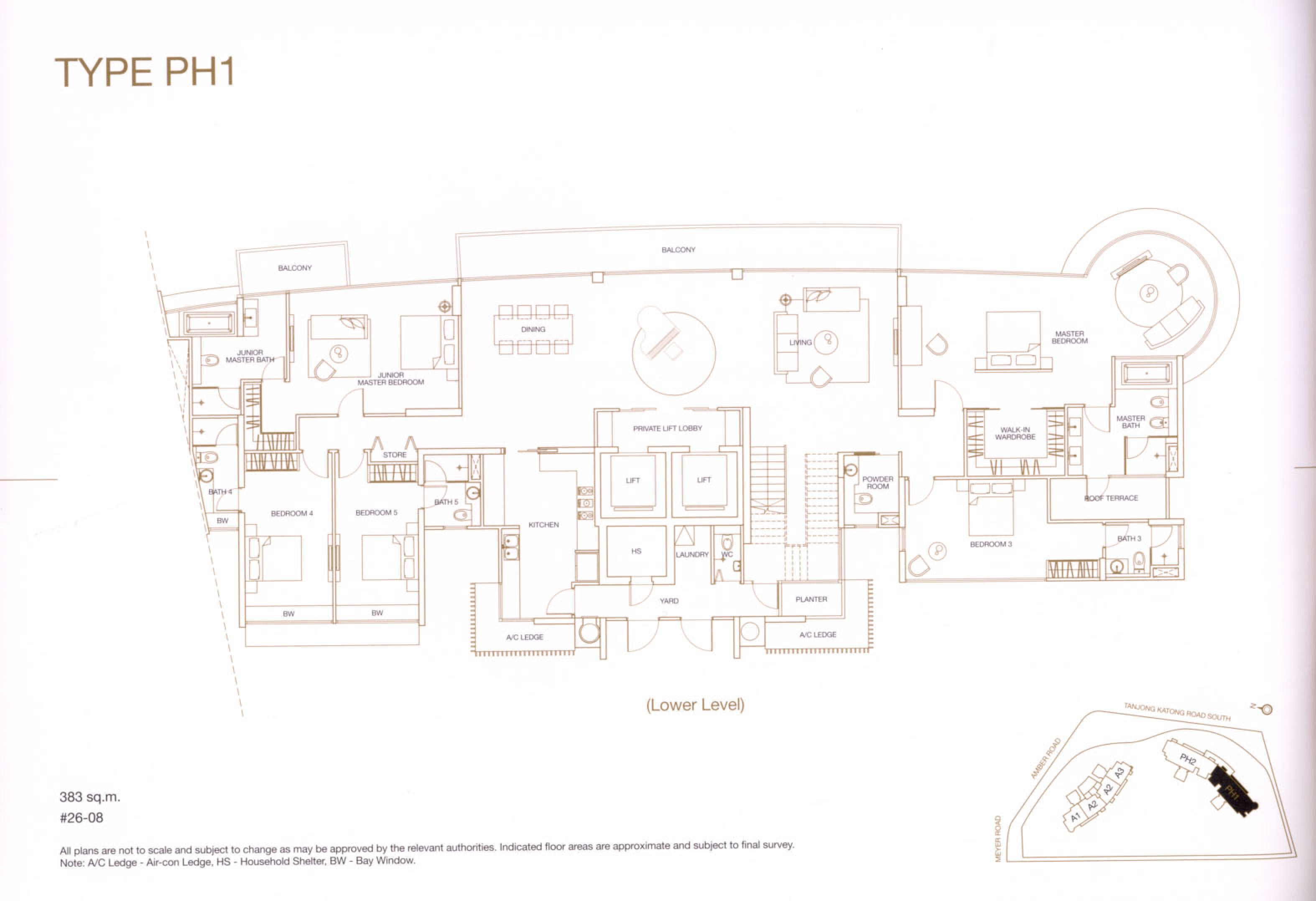 Aalto 5 bedroom duplex penthouse lower level floor plans type ph1